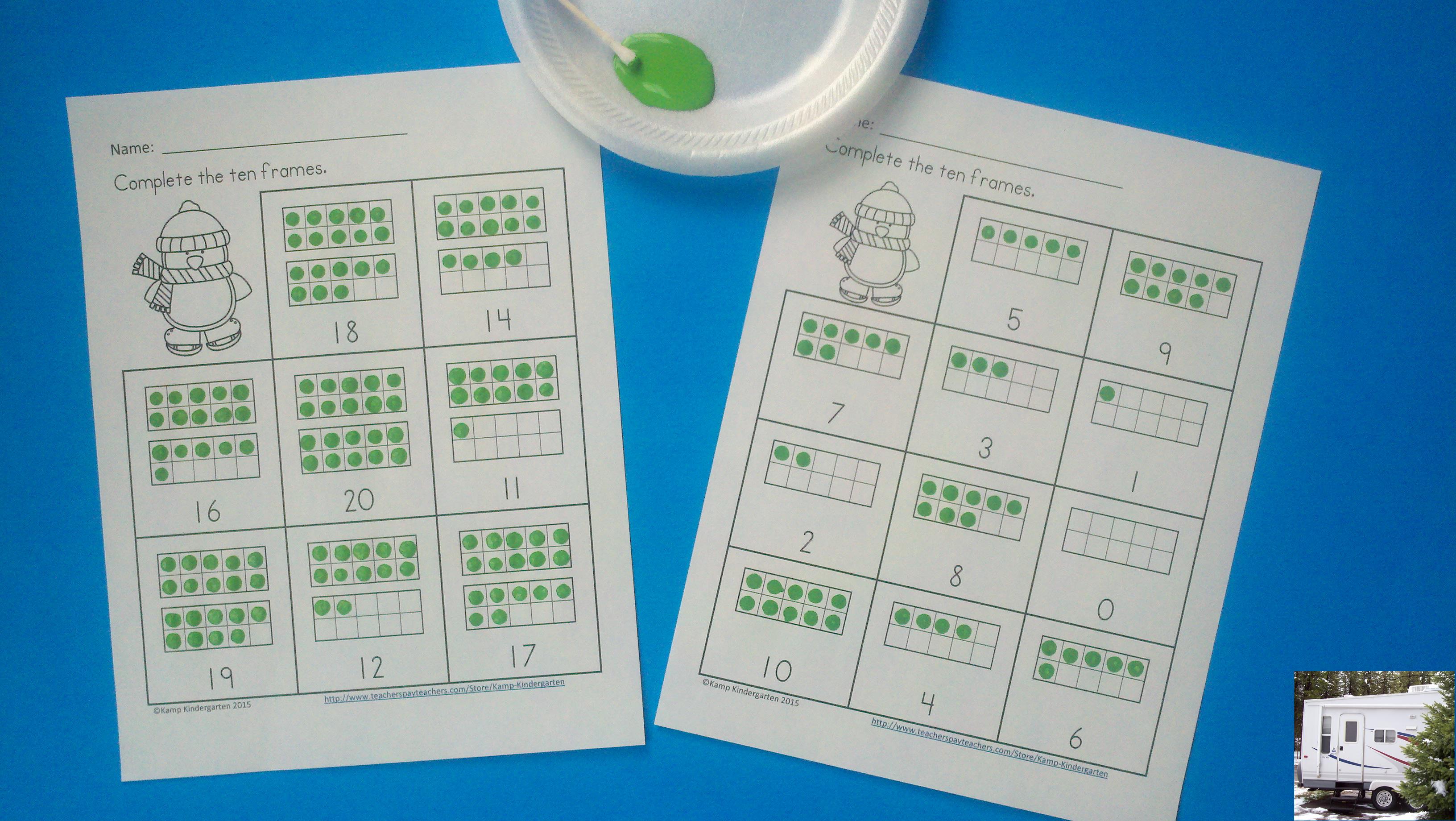 Winter FREEBIE: Penguin Dot Paint Ten Frames – Kamp Kindergarten