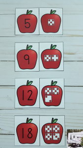 Kamp Kindergarten Apple Dice Matching Cards FREEBIE copy